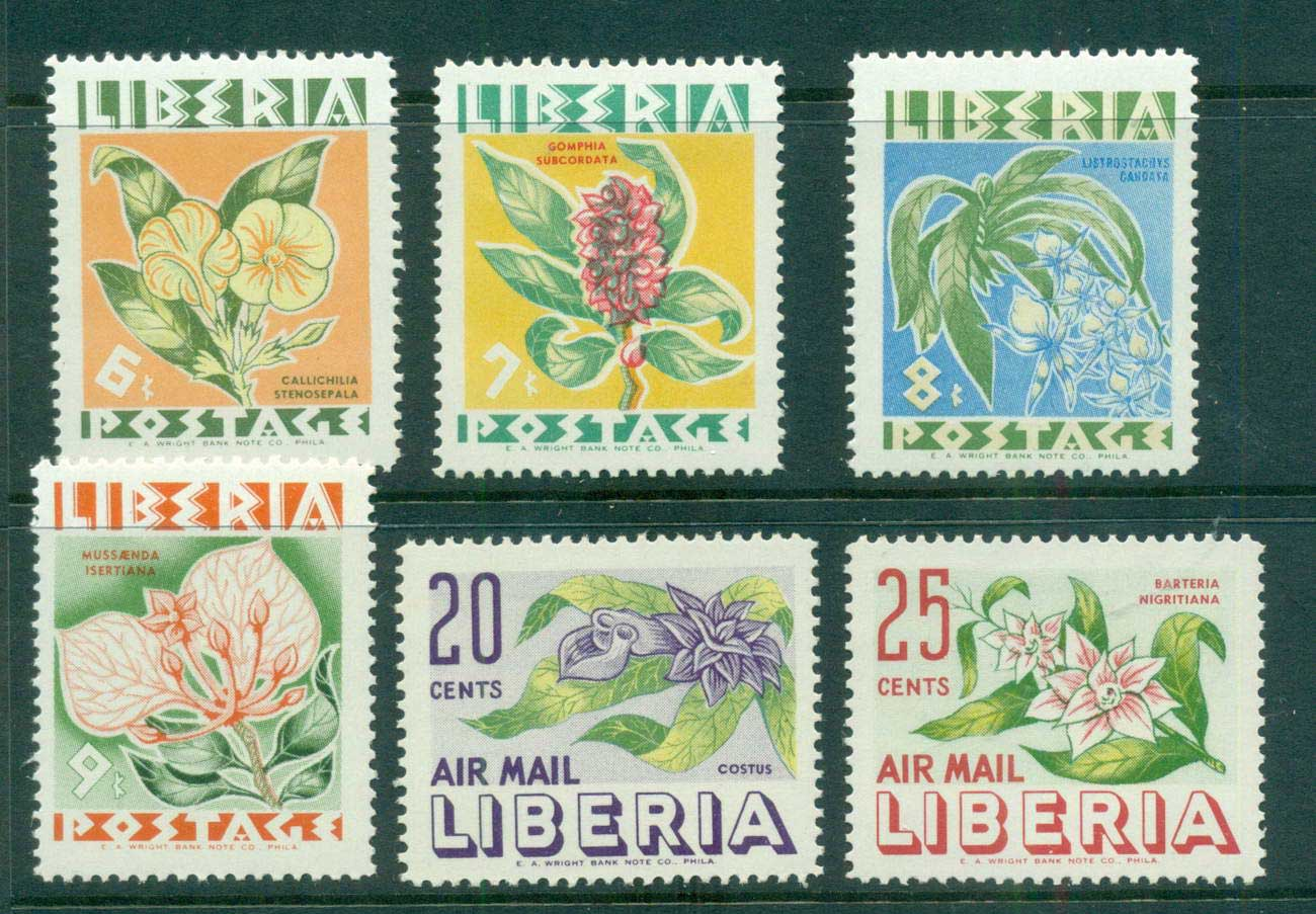 Liberia 1955 Native Flowers MLH lot56697
