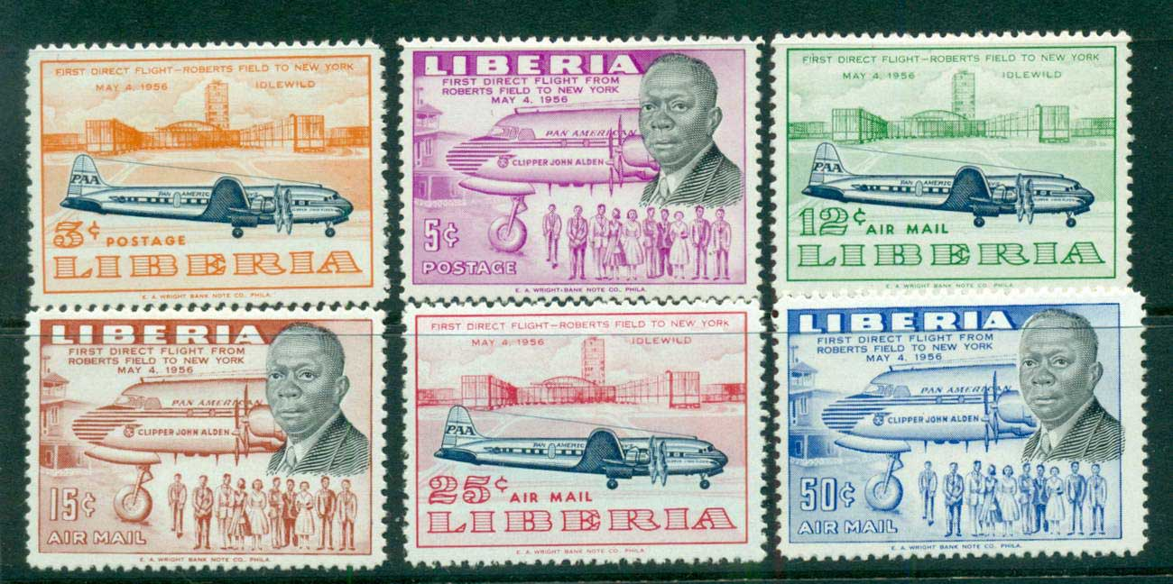 Liberia 1957 Air Service To Kennedy NY MLH lot56704