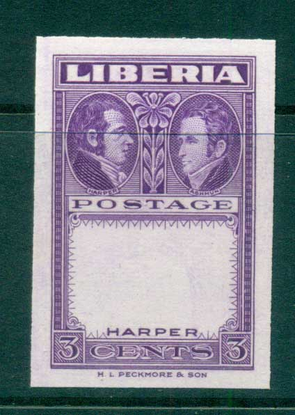 Liberia 1952 3c purple Frame proof Lot56789