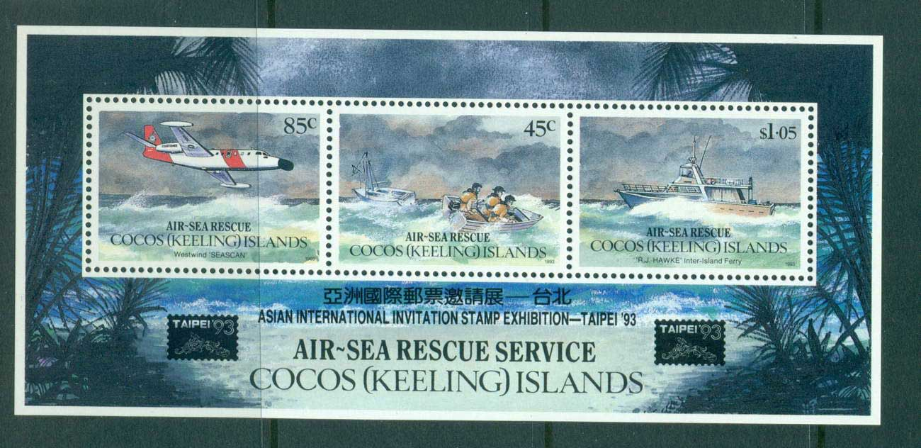 Cocos Keeling Is 1993 Air Sea Rescue Opt Taipei MS MUH lot56885