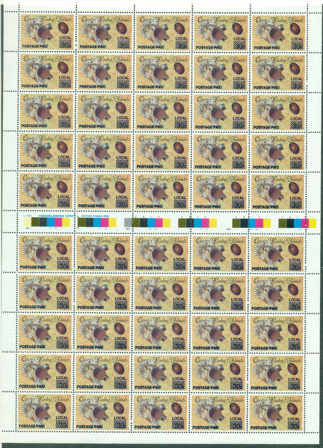 Cocos Keeling Is 1990 Provisional Opt 1c on 30c Sheet 50 MUH lot56904