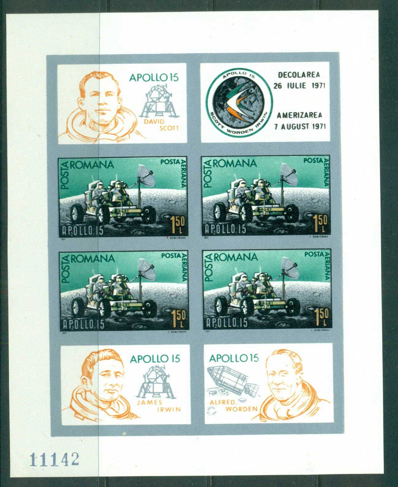 Romania 1971 Apollo 15 Moon landing IMPERF MS MUH lot57415
