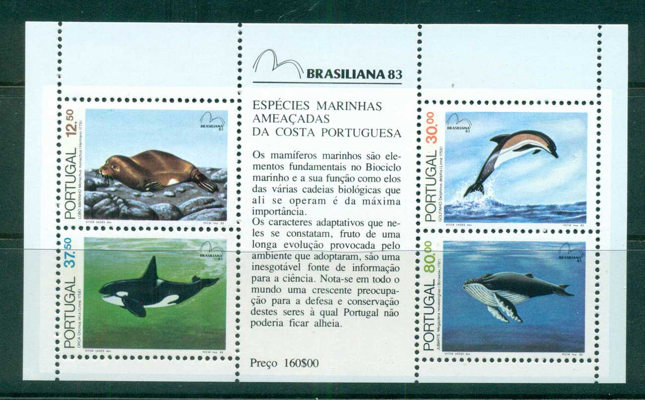 Portugal 1983 Endangered Sea Animals MS MUH lot57495