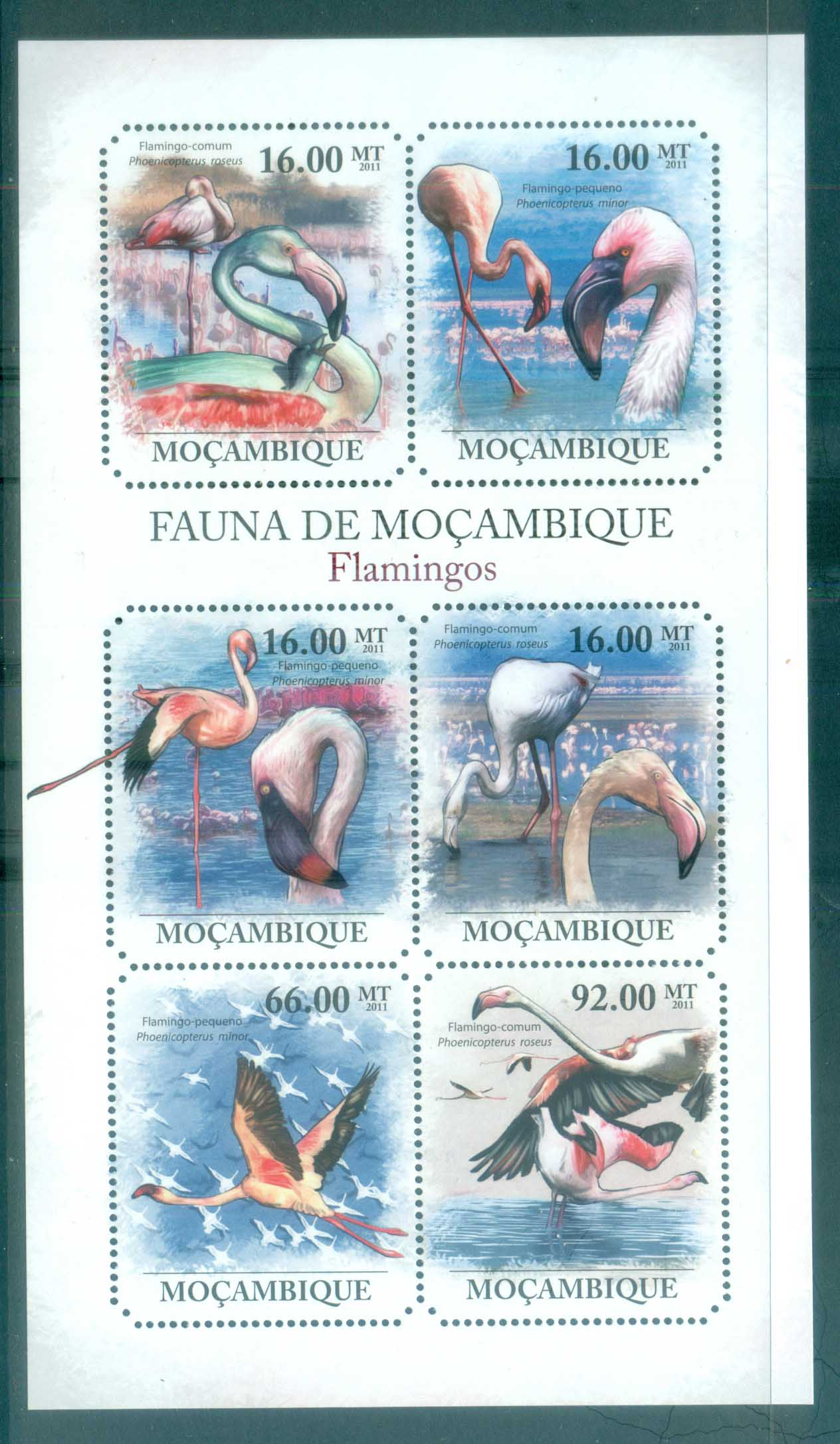 Mozambique 2011 Bird, Waterbirds , Flamingoes MS MUH MOZ11413a