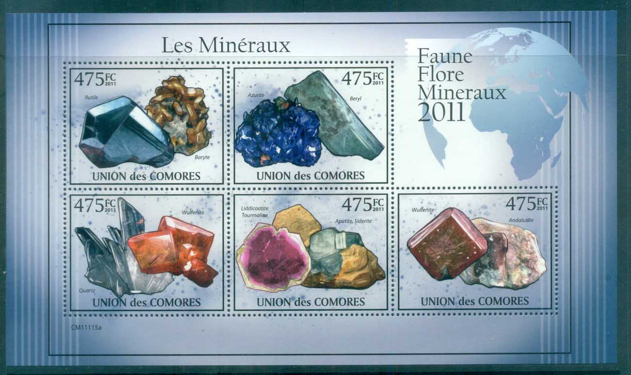 Comoro Is 2011 Minerals, Rocks, Gemstones MS MUH CM011
