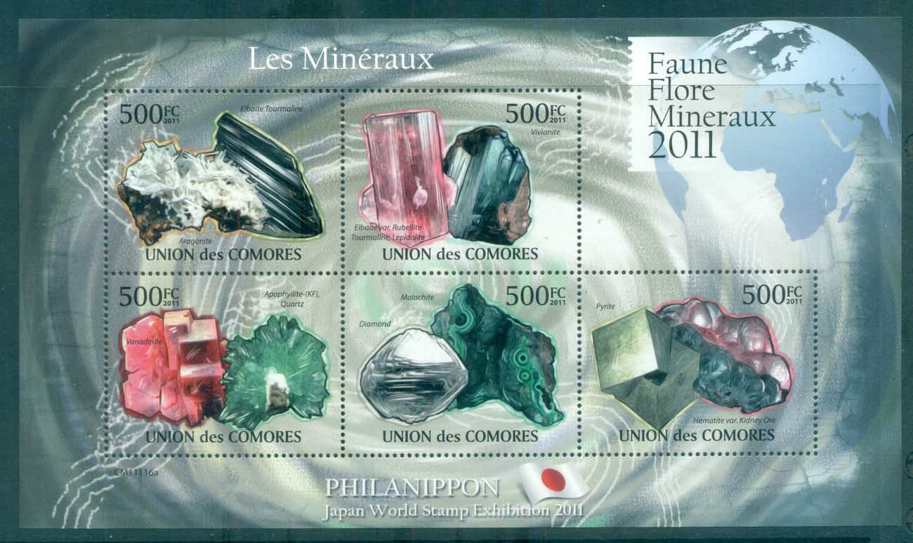 Comoro Is 2011 Minerals, Rocks, Gemstones MS MUH CM009