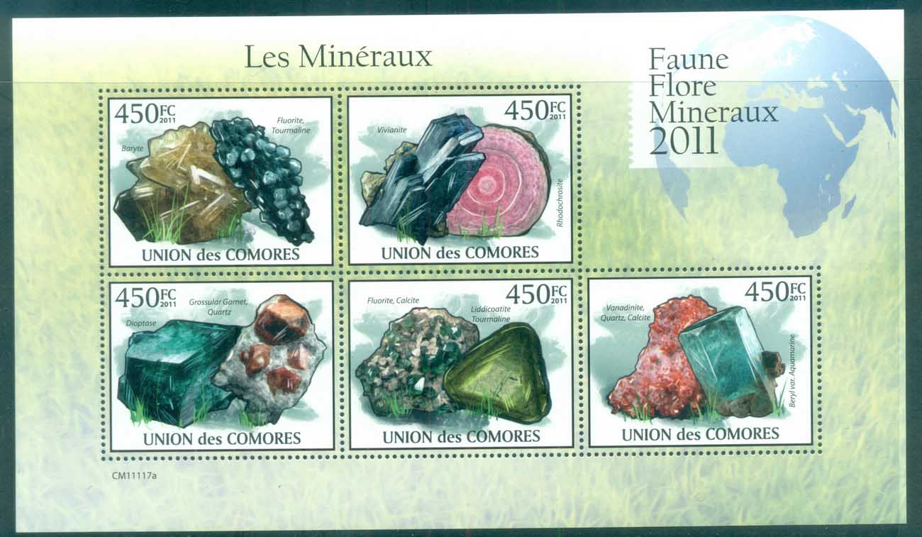 Comoro Is 2011 Minerals, Rocks, Gemstones MS MUH CM008