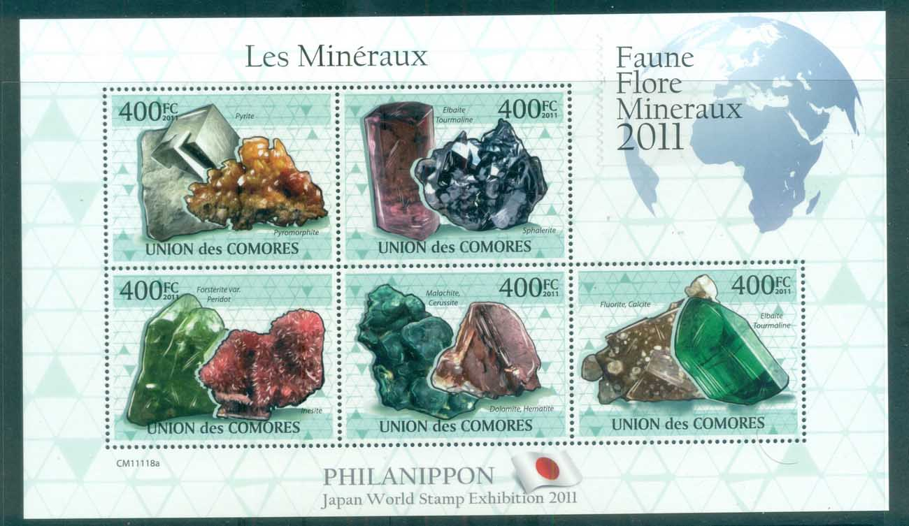Comoro Is 2011 Minerals, Rocks, Gemstones MS MUH CM007