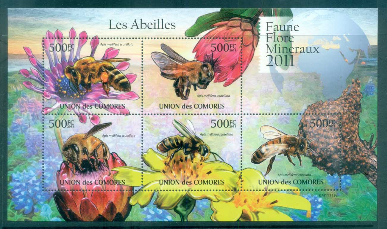 Comoro Is 2011 Insects, Bees, Wasps, Flies MS MUH CM11119a