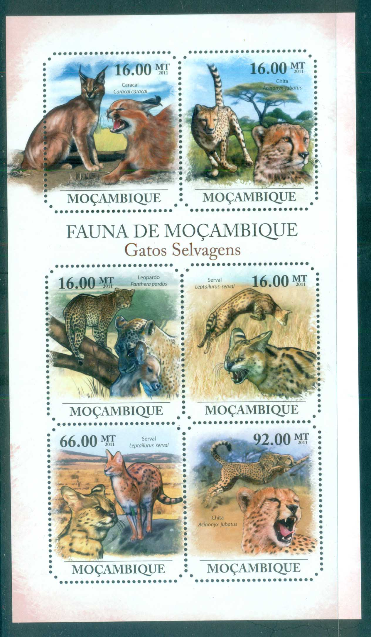 Mozambique 2011 African Wildlife, Leopard, Caracul, Cerval MS MUH MOZ11412a