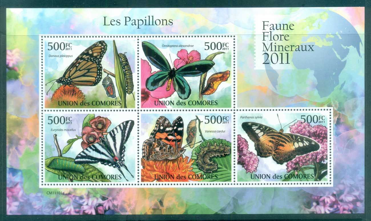 Comoro Is 2011 Insects, Butterflies, Moths, Caterpillar MS MUH CM11101a