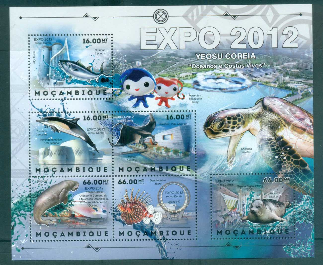 Mozambique 2011 Marine Life, Whales,Dolphin Turtle, Seal, Fish MS MUH MOZ12401a