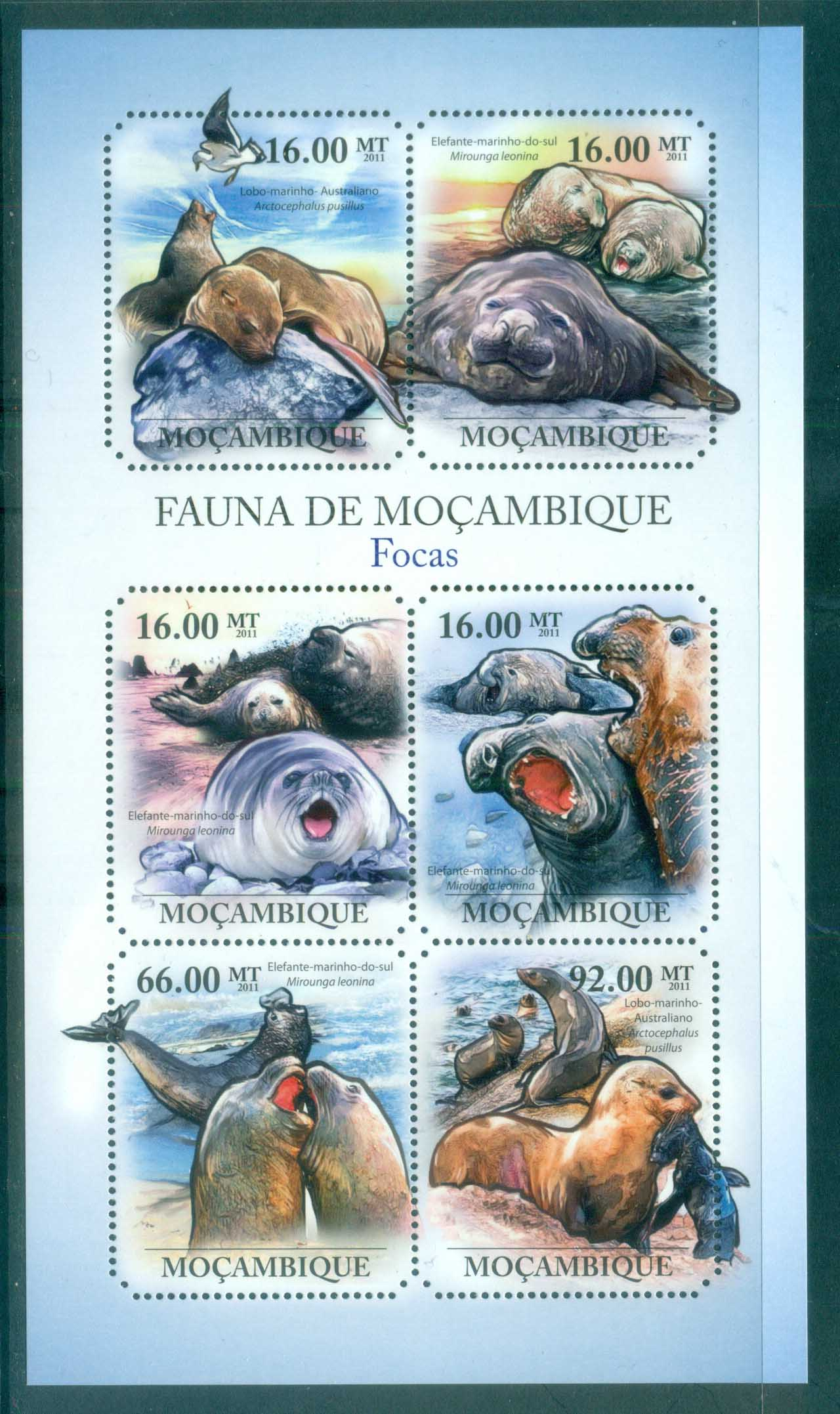 Mozambique 2011 Marine Life,Seals MS MUH MOZ11422a
