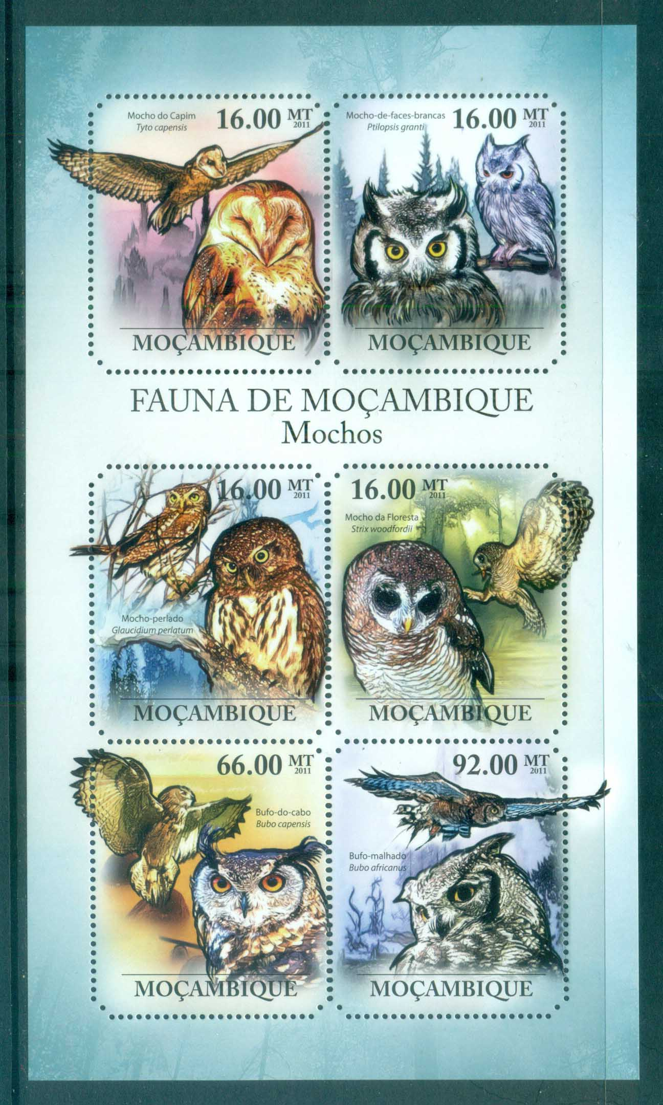 Mozambique 2011 Birds of Prey, Owls MS MUH MOZ11404a