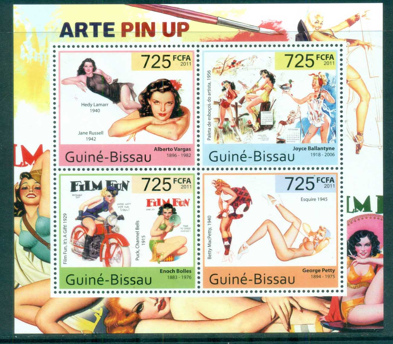 Guinea Bissau 2011 Art, Painting, Pin Up, Ballantyne, Vargas MS MUH GB11513a