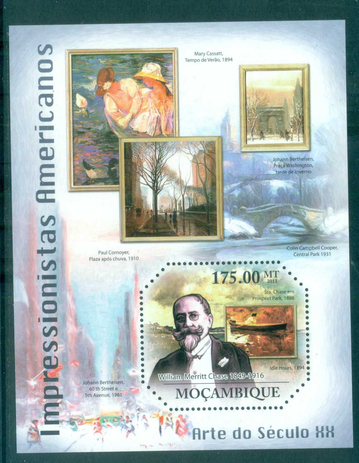 Mozambique 2011 Art, Painting, American Impressionists, Mary Cassat, Chase, Cornoyer MS MUH MOZ11315b