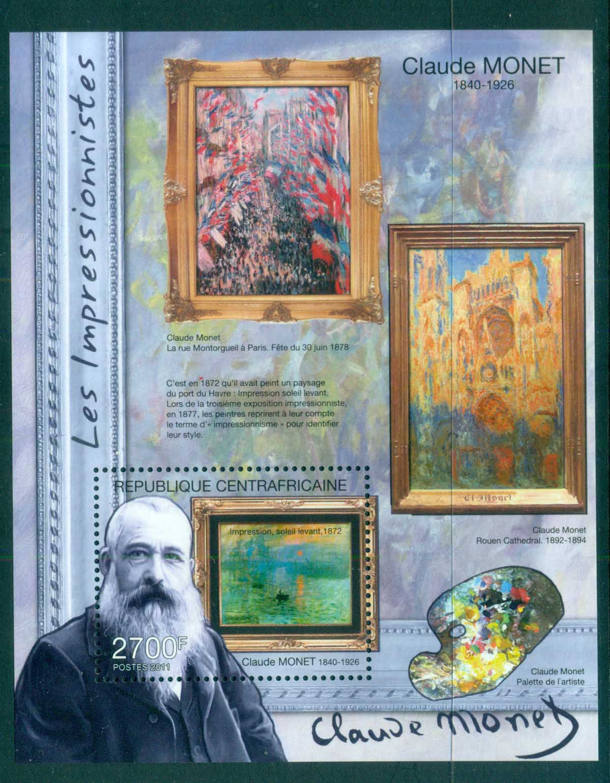 Central African Republic 2011 Art,Painting, Claude Monet MS MUH CA11316b