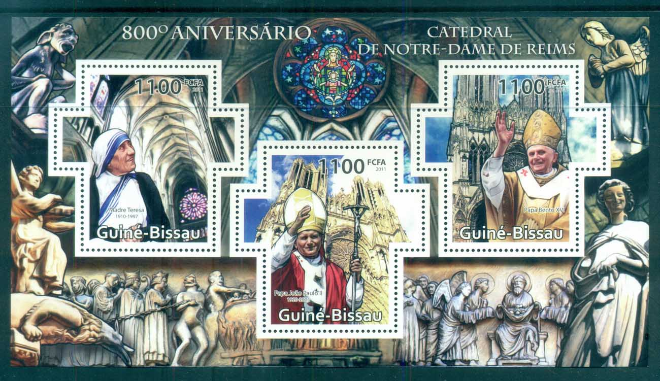 Guinea Bissau 2011 Famous People, Pope Benedict XVI Mother Theresa, Pope John Paul II MS MUH GB11408a