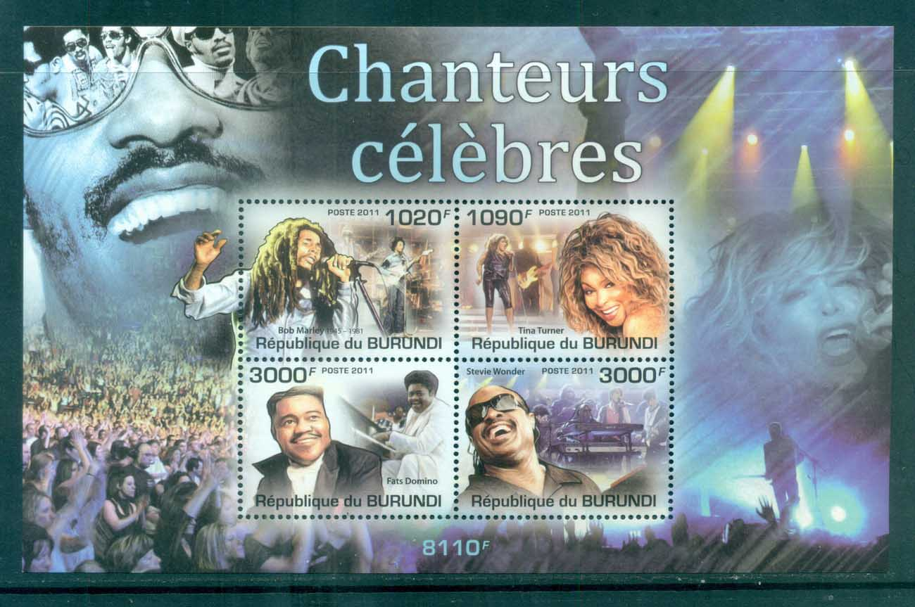 Burundi 2011 Famous People, Music, Tina Turner, Stevie Wonder, Fats Domino, Bob Marley MS MUH BUR019