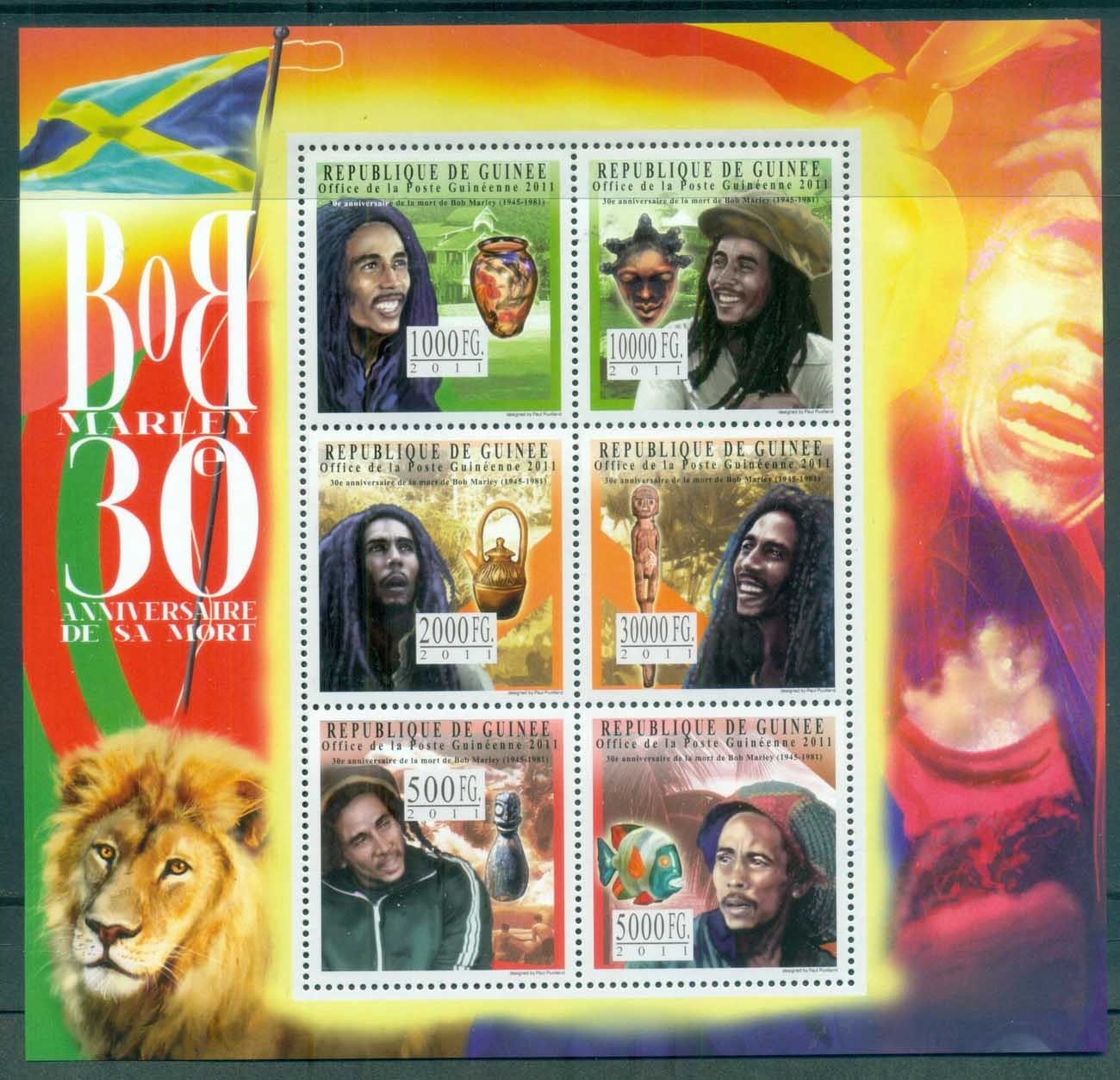 Guinee 2011 Famous People, Music, Male, Bob Marley MS MUH GU042