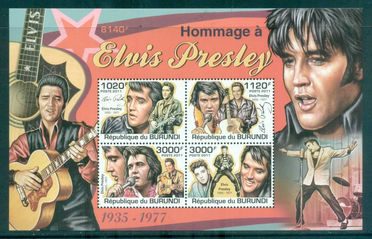 Burundi 2011 Famous People, Music, Male, Elvis Presley MS MUH BUR11313b