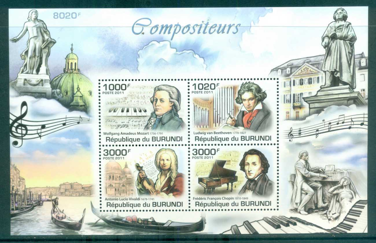 Burundi 2011 Famous People, Music, Classical, Composers, Mozart, Vivaldi, Chopin, Beethoven MS MUH BUR020