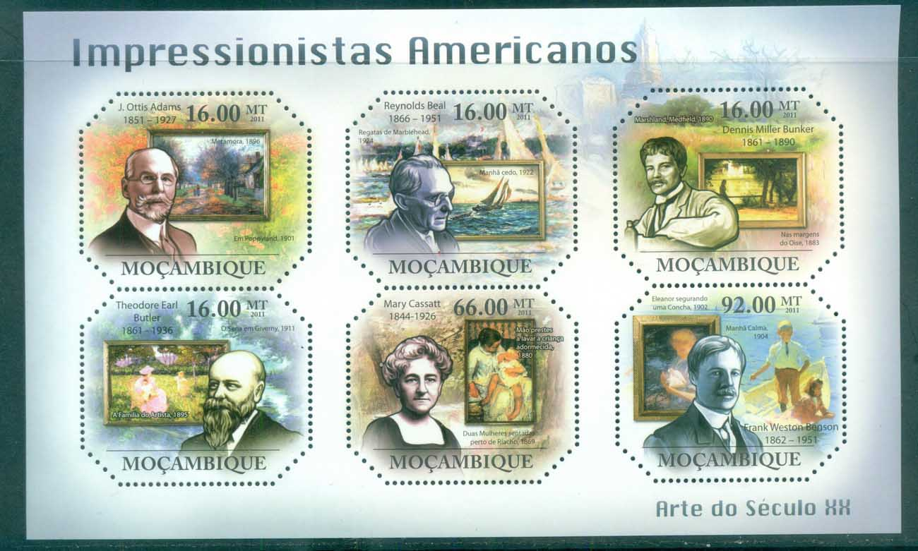 Mozambique 2011 Art, Painting, American Impressionists MS MUH MOZ11315a