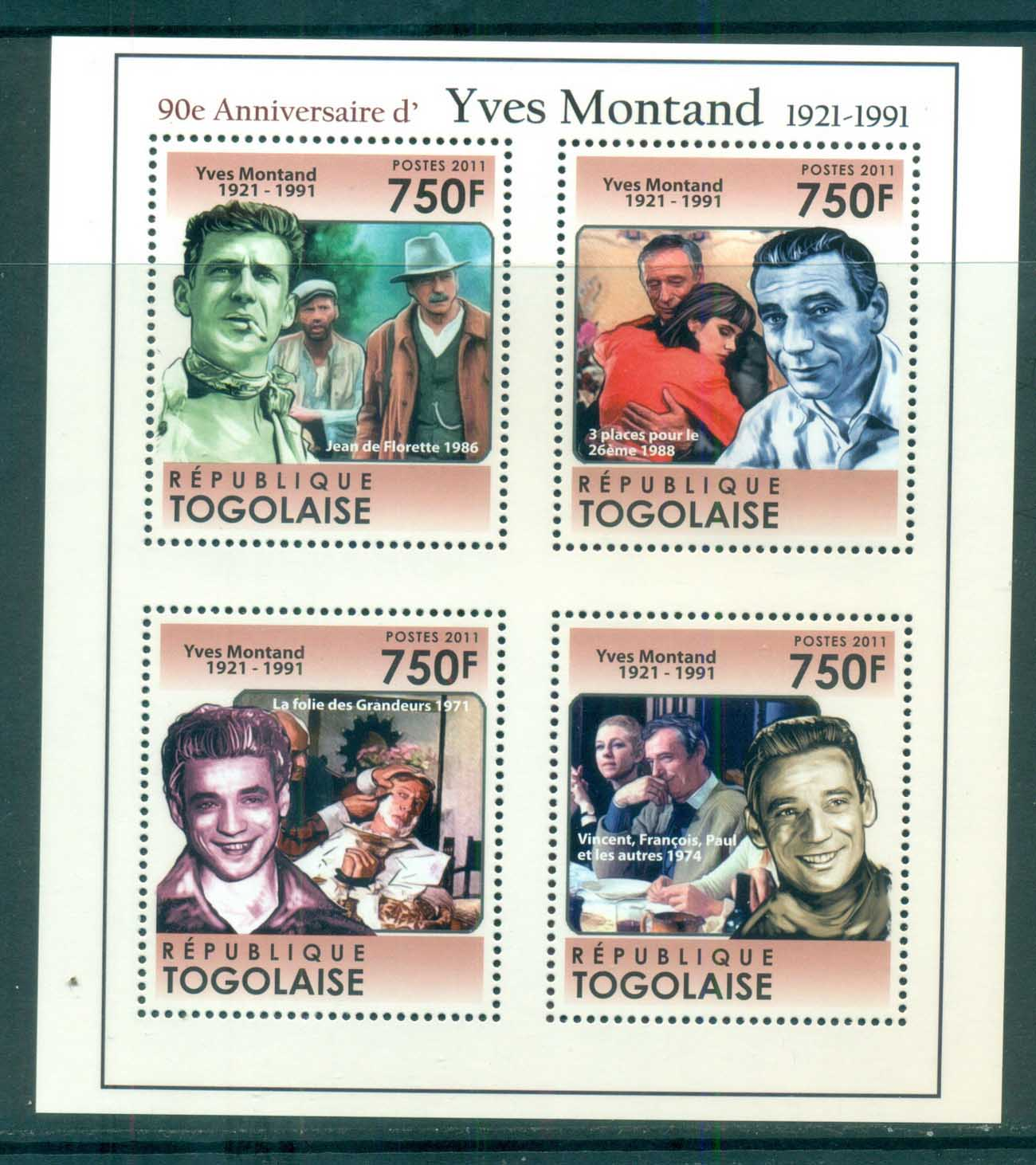 Togo 2011 Famous People, Film, Yves Montand MS MUH TG11304a