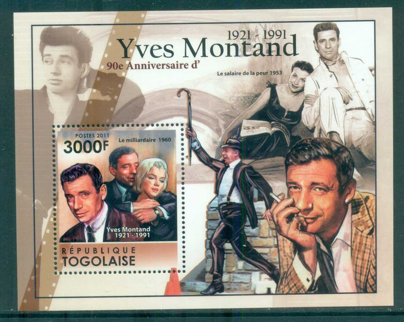 Togo 2011 Famous People, Film, Yves Montand MS MUH TG11304b