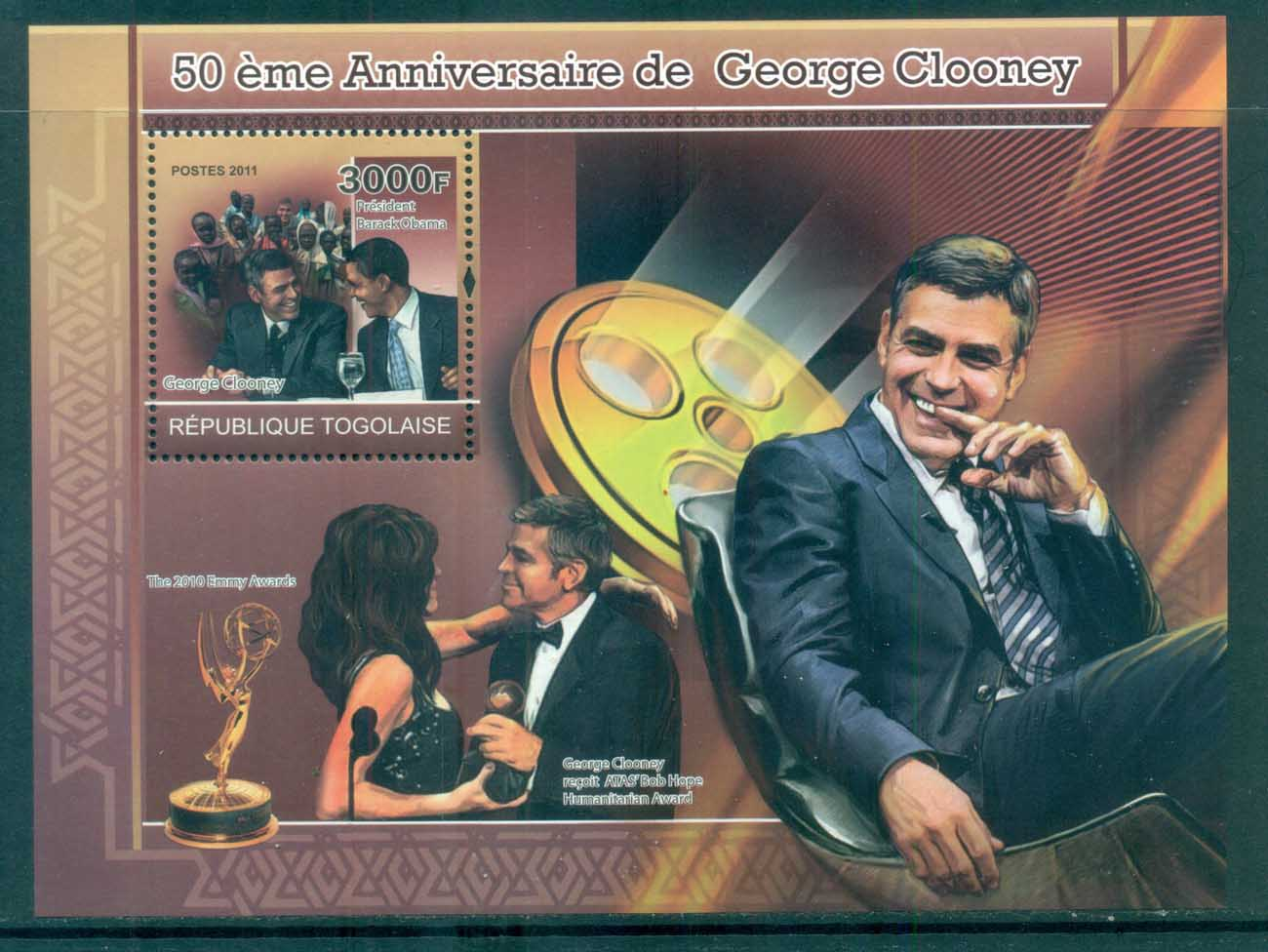 Togo 2011 Famous People, Film, George Clooney MS MUH TG11208b