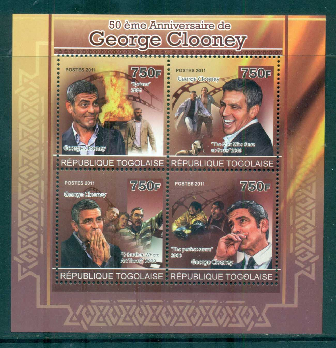 Togo 2011 Famous People, Film, George Clooney MS MUH TG11208a