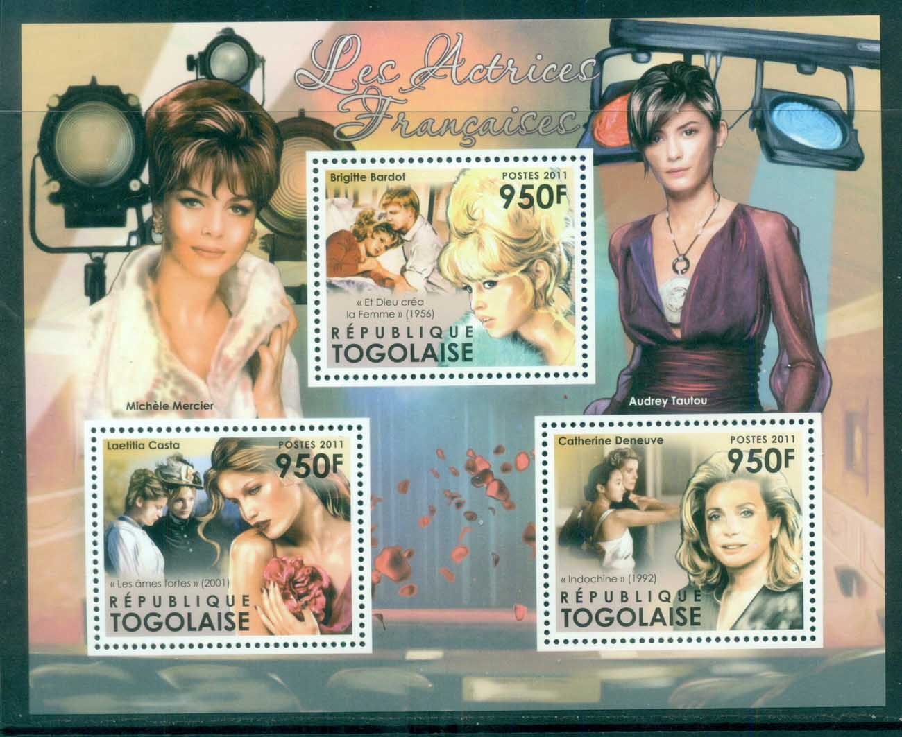 Togo 2011 Famous People, Film, Brigitte Bardot, Catherine Deneuve, French Actresses MS MUH TG11513a