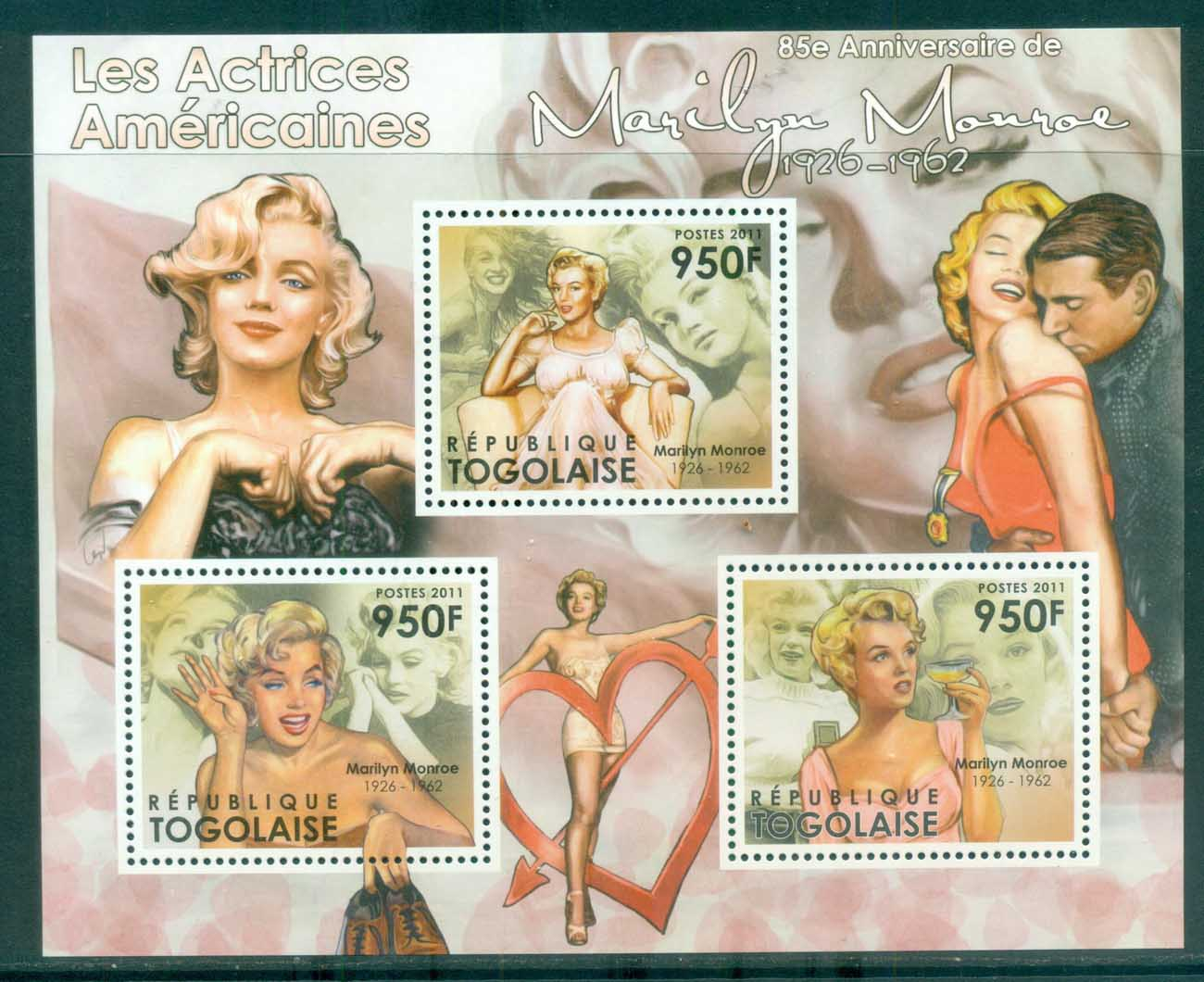 Togo 2011 Famous People, Film, Marylin Monroe MS MUH TG11512a
