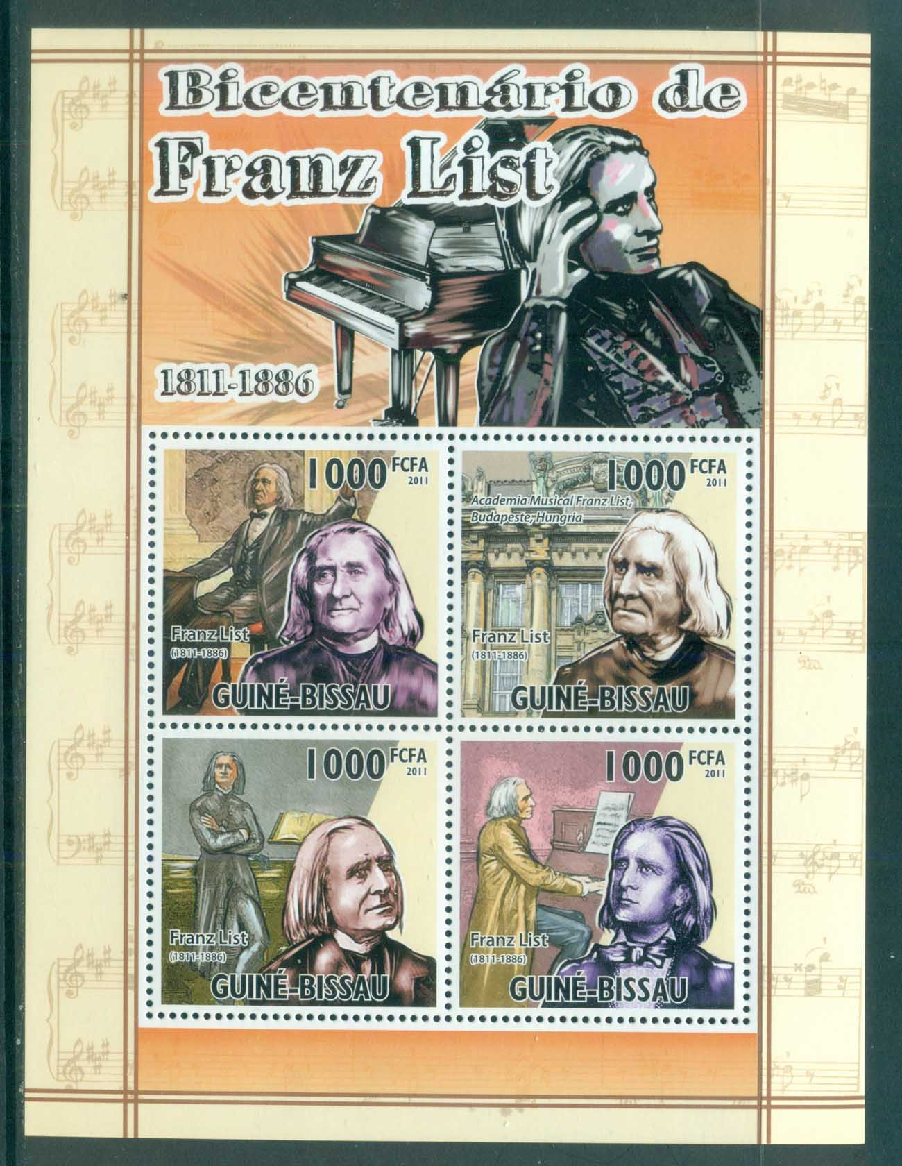 Guinea Bissau 2011 Famous People, Music, Classical, Franz Liszt MS MUH GB057