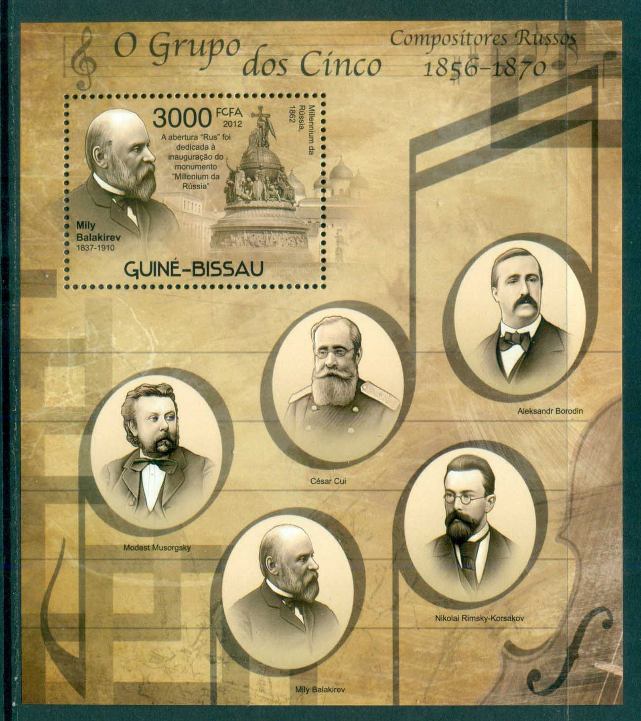 Guinea Bissau 2012 Famous People, Music, Classical, Composers MS MUH GB014a