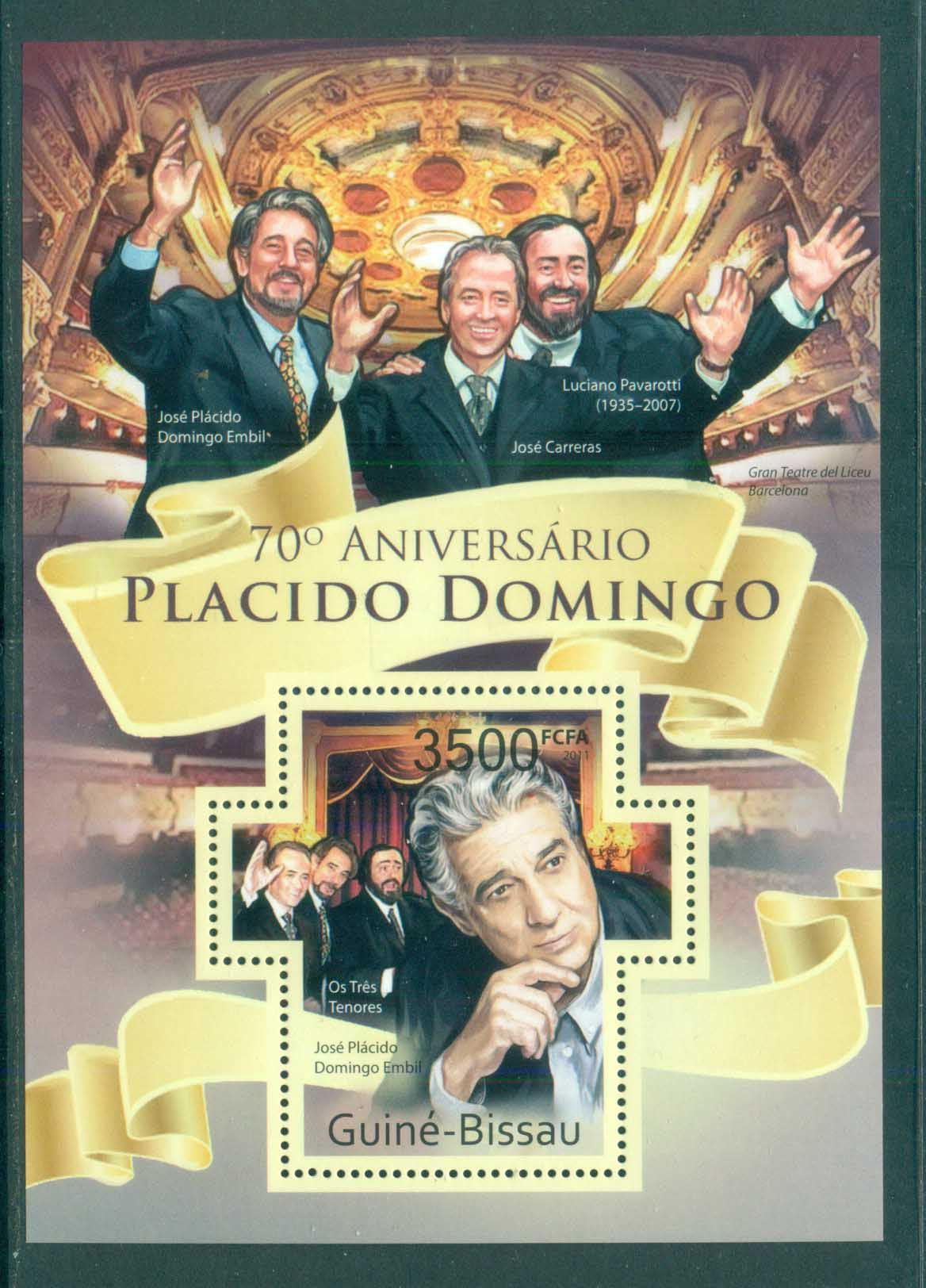 Guinea Bissau 2011 Famous People, Music, Classical, Placido Domingo MS MUH GB015