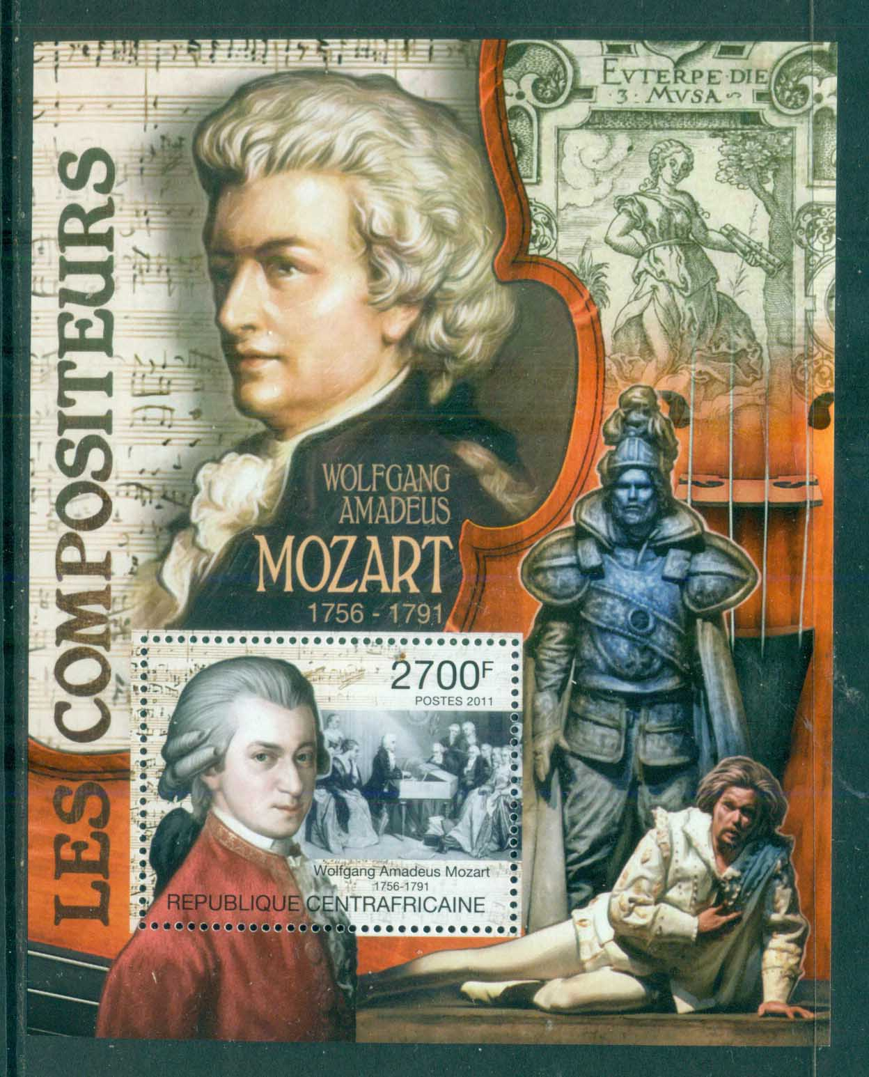 Central African Republic 2011 Famous People, Music, Classical, Wolfgang Amadeus Mozart MS MUH CA002