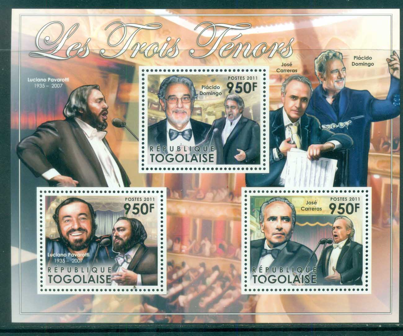 Togo 2011 Famous People, Music, Classical, Three Tenors MS MUH TG008