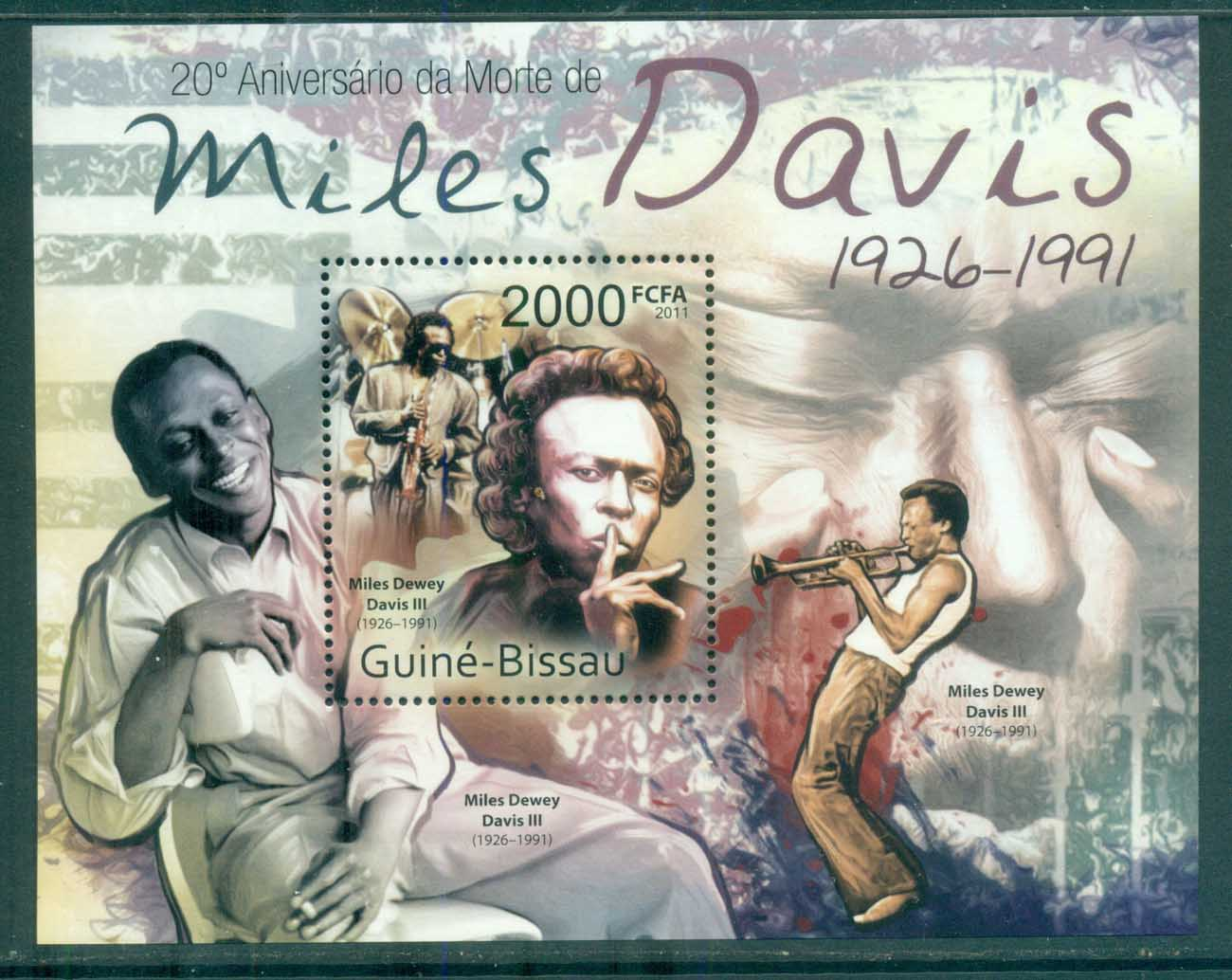 Guinea Bissau 2011 Famous People, Music, Male, Miles Davis MS MUH GB032