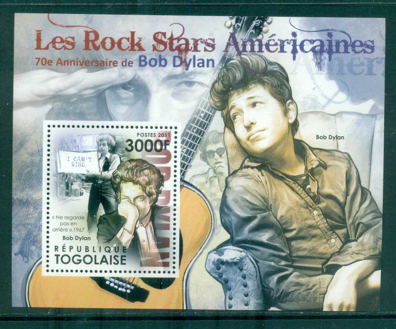Togo 2011 Famous People, Music, Male, Bob Dylan MS MUH GB024