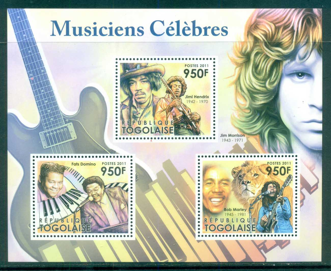 Togo 2011 Famous People, Music, Male, Jimi Hendrix, Fats Domino, Bob Marley MS MUH TG026