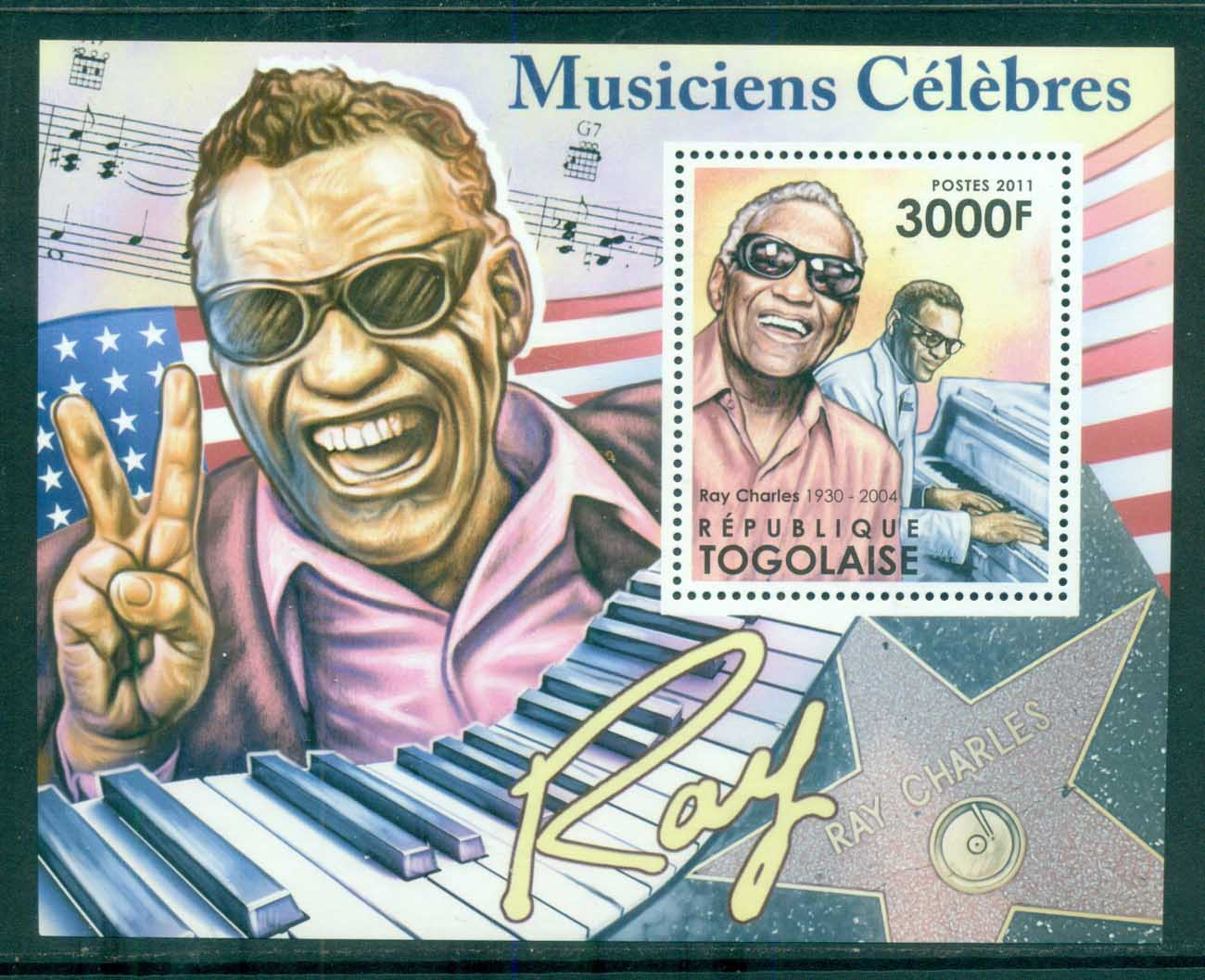 Togo 2011 Famous People, Music, Male, Ray Charles MS MUH TG025