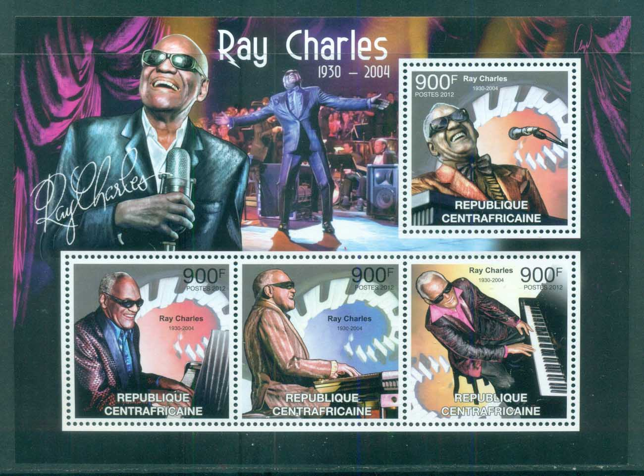Central African Republic 2012 Famous People, Music, Male, Ray Charles MS MUH CA016
