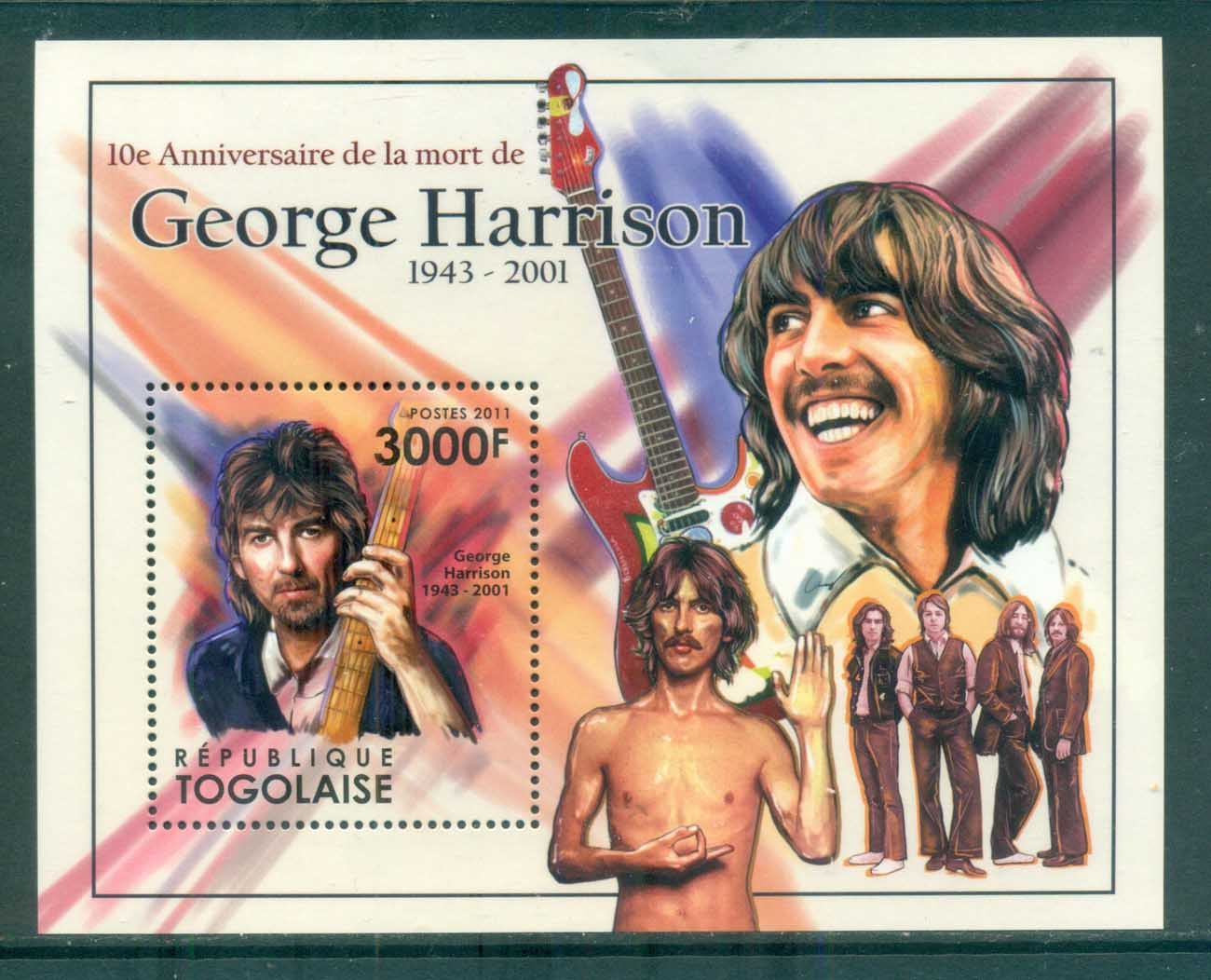 Togo 2011 Famous People, Music, The Beatles, George Harrison MS MUH TG003