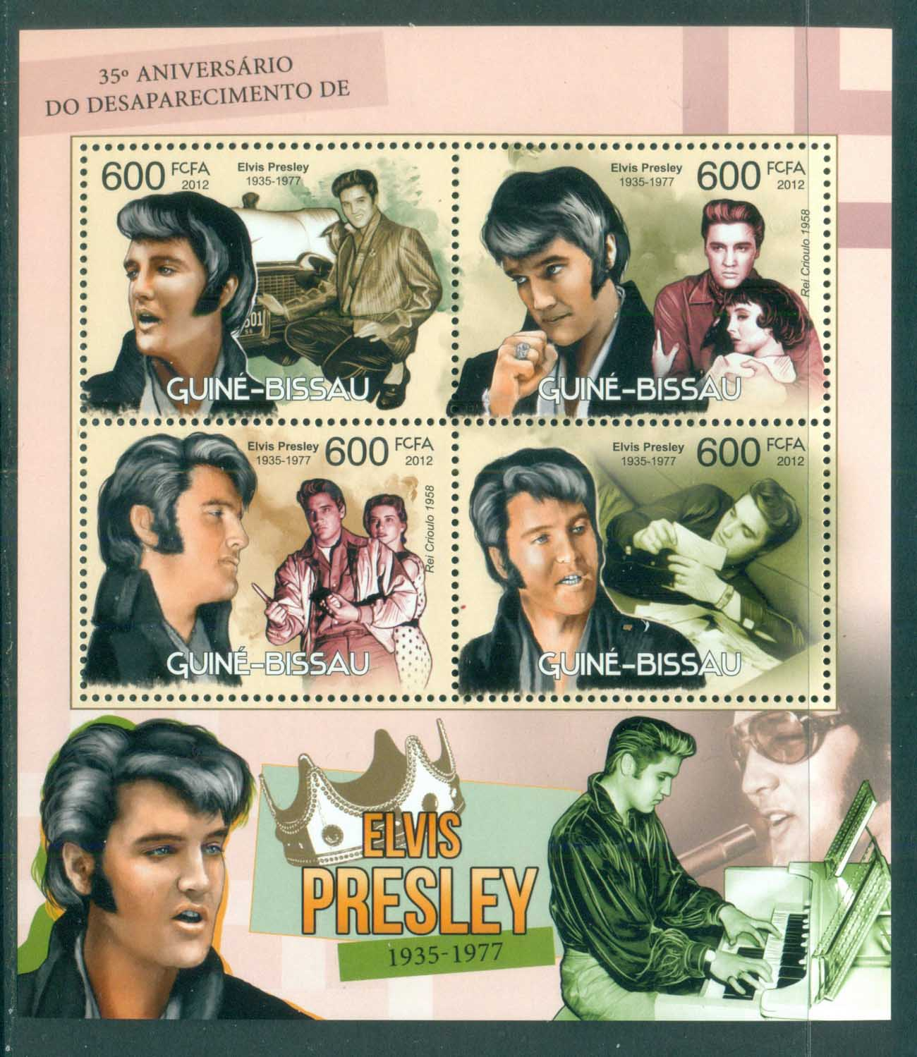 Guinea Bissau 2012 Famous People, Music, Male, Elvis Presley MS MUH GB12413a