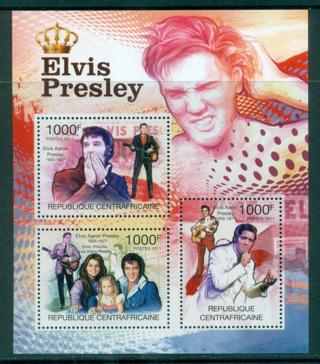 Central African Republic 2011 Famous People, Music, Male, Elvis Presley MS MUH CA11305a
