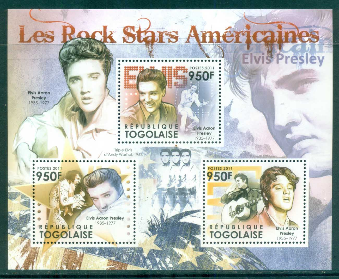 Togo 2011 Famous People, Music, Male, Elvis Presley MS MUH TG11520a