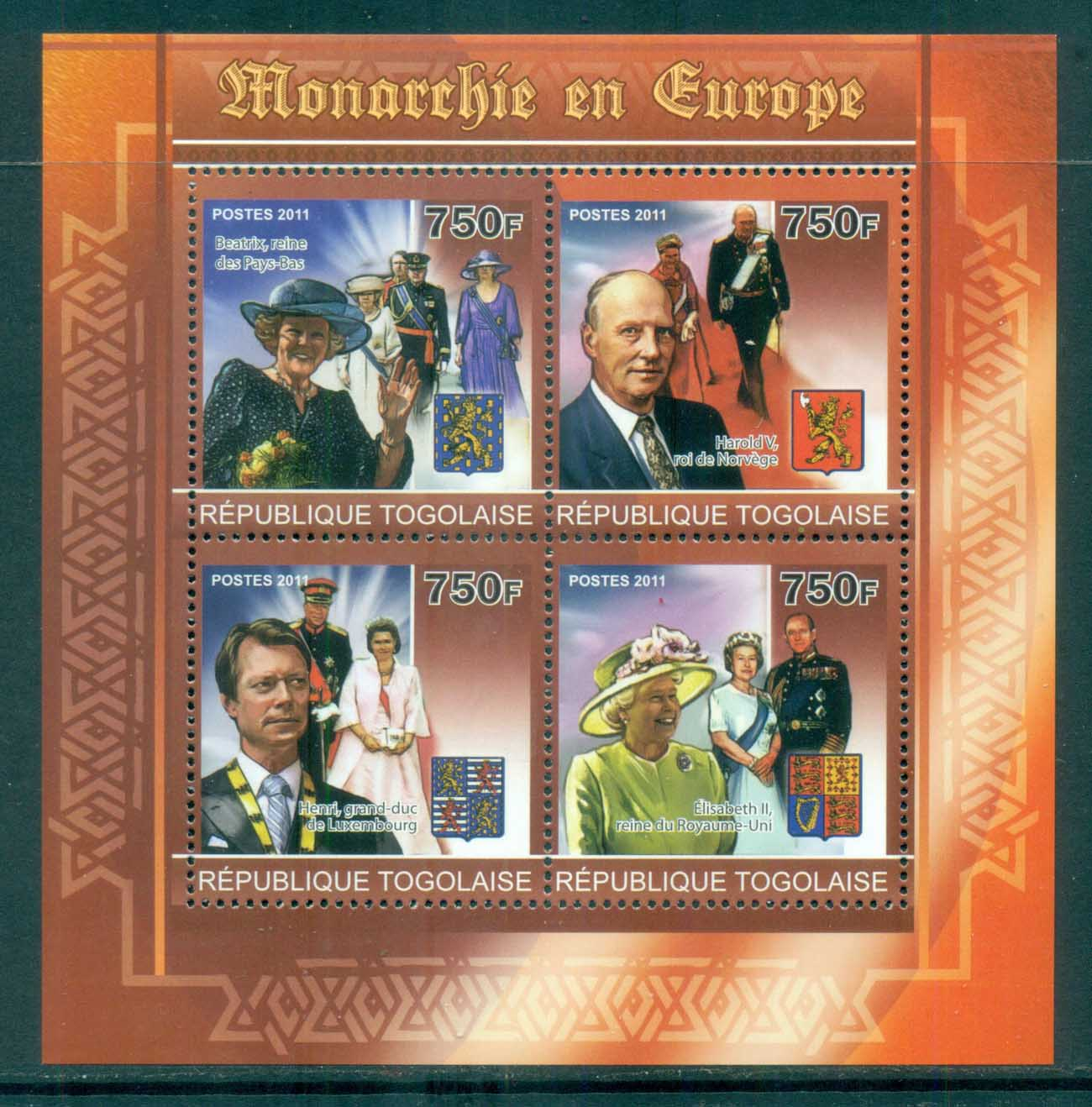 Togo 2011 Famous People, Royalty in Europe MS MUH TG11201a