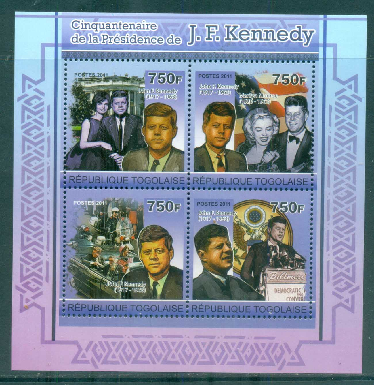 Togo 2011 Famous People, USA Presidents, JFK Kennedy MS MUH TG11218a