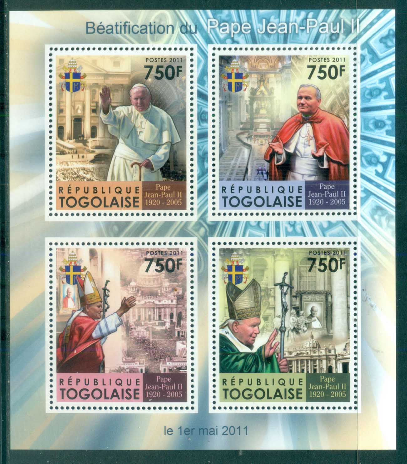 Togo 2011 Famous People, Popes, John Paul II MS MUH TG11309a